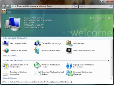 Windows Vista RC2 Welcome Center screenshot
